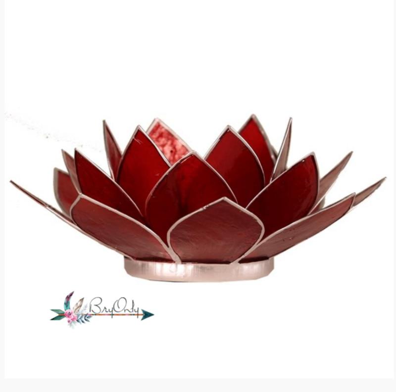 Lotus waxinelicht rood | gouden randjes| 1e chakra