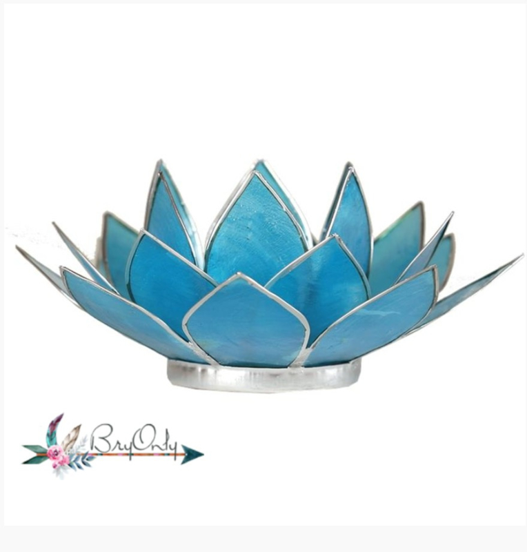 Lotus waxinelicht blauw | gouden randjes| 5e chakra