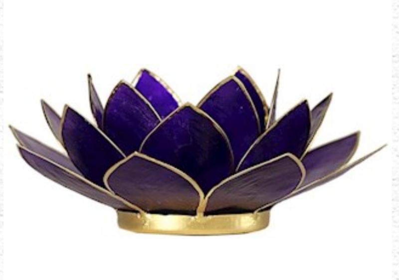 Lotus waxinelicht indigo | zilver