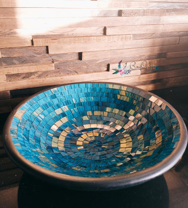 Blauwe Mozaïek met gouden spikkels schaal  L