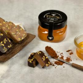 Honing chocolade melk en puur gemengd 10  stuks met onze wilde tijmhoning van Kreta