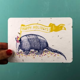 Growing card Holiday Armadillo + envelope