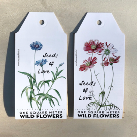 Seeds of Love: one square meter of wildflowers in a gift tag