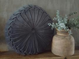 Rond velvet kussen donker grijs (40 cm)