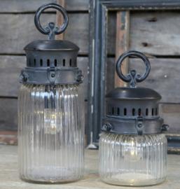 Sfeerlantaarn geribbeld glas grote