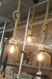 Gereserveerd!! Hanglamp metaal gaas (zwart) mt: L