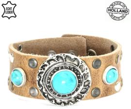 Leren armband turqoise
