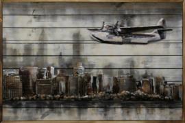 Schilderij metaal / hout vliegtuig