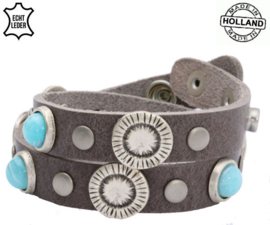 Dubbele leren armband (grijs)