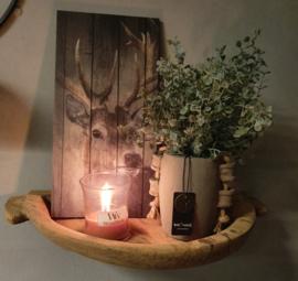 Oude teakhouten wandschaal