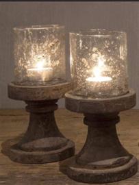 Bubble glas windlicht op houten voet