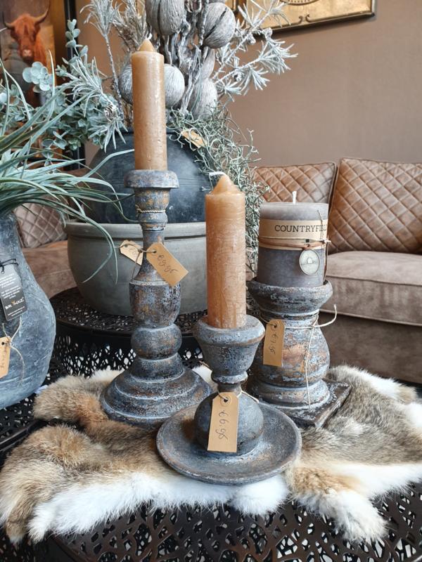3 houten kaarsenstandaards mrt kaarsen