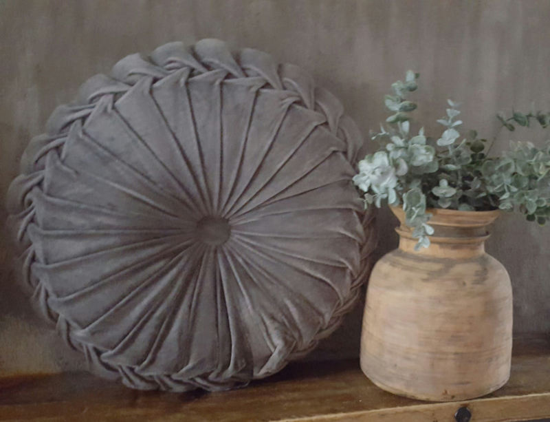 Rond velvet kussen (40 cm licht grijs)