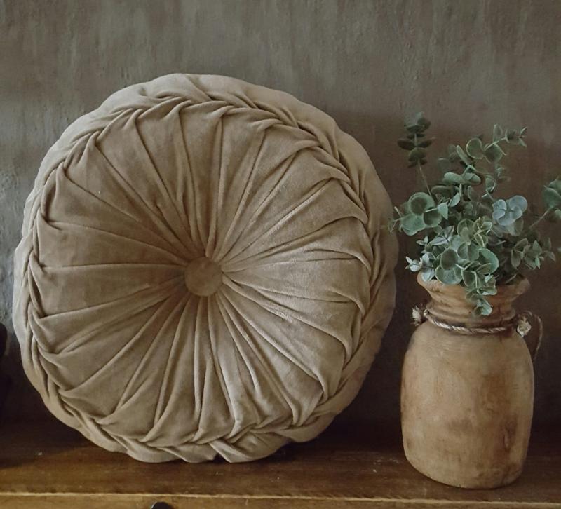 Velvet kussen taupe (40 cm)