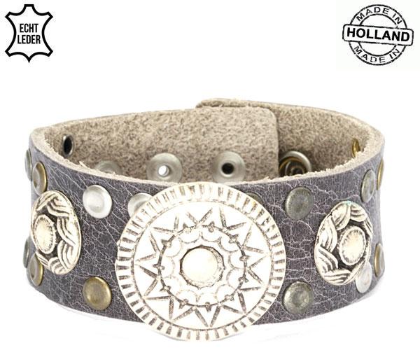 Leren armband (donkergrijs)