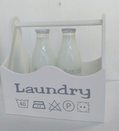 "Houten bak met hengsel ""Laundry"" 2 stuks"