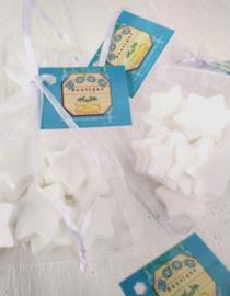 Voile zakje -zeepsterren eigen label  36 st. wit