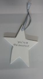 "Houten ster mini ""you`re the sweetest  6 stuks"