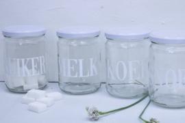 Glazen pot met deksel SNOEP wit VE6