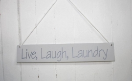 "Holzplatte ""Live, Laugh, Laundry"" 2 St."