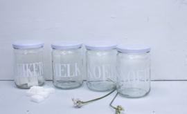 Glazen pot met deksel MELK wit VE6