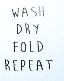 Muursticker WASH DRY FOLD REPEAT 2st.
