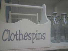 """Houten bak met hengsel """"Clothespins"""" 2 stuks"""
