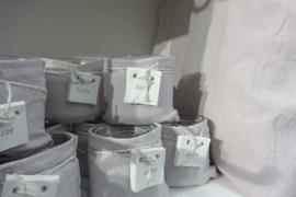 Windlichtje stonewashed linnen enjoy grijs 4 st.