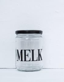 Glazen pot met deksel MELK zwart VE6