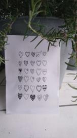 Geursachet Craft wit hartjes verzameling ! 6 st.