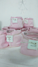 Windlichtje stonewashed linnen enjoy roze