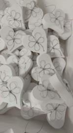 Hart met bloem van ijzerdraad mini 6 stuks