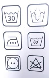 Sticker Wassymbolen Strijken 6 st.