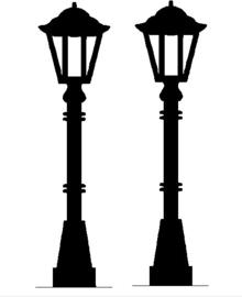 Raamsticker 2x lantaarnpaal  klein 6 st.