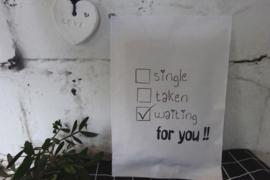 Sachet - Craft weiß Single, Taken, Waiting 6 st.