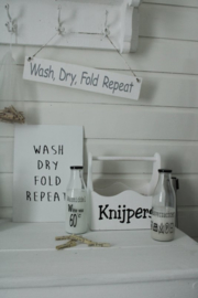 Canvaslijst WASH DRY FOLD REPEAT 4 st.