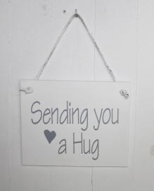 "Bordje ""Sending you a Hug"" 2 stuks"