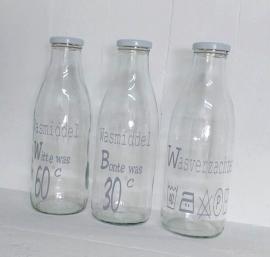 """Glazen fles """"Witte was"""" 2 st."""