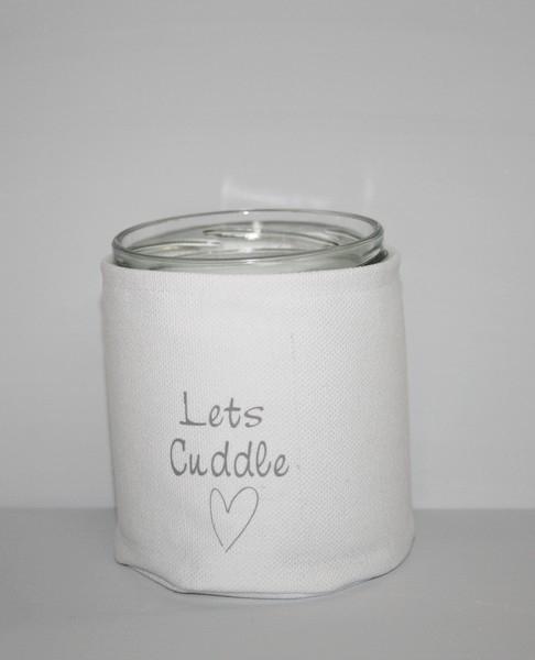 """Windlicht canvas""""Let's Cuddle"""" 4 stuks"""