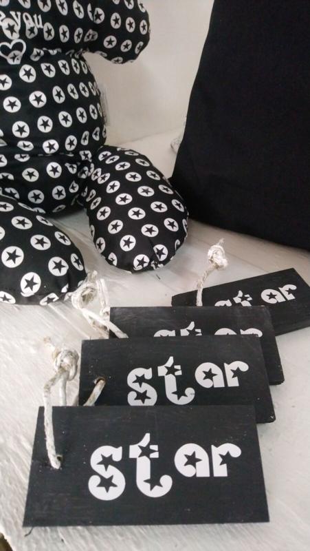 Houten Tag zwart Star 6 stuks