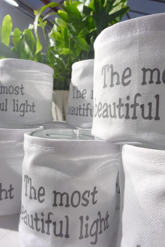 """Windlicht linnen """"The most beautiful light"""" 4 stuks"""