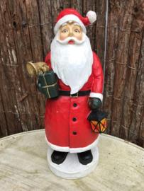 Polyester kerstman houtlook H 38 cm