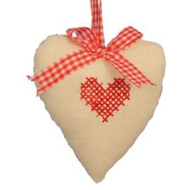 Stoffen hart met geborduurd hart 9 cm Clayre & Eef