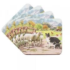 Set van 4 onderzetters Macneil Collie & Sheep Leonardo Collectie