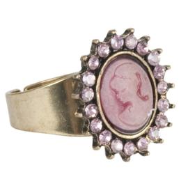 Zilverkleurige ring met Camee medaillon Clayre & Eef
