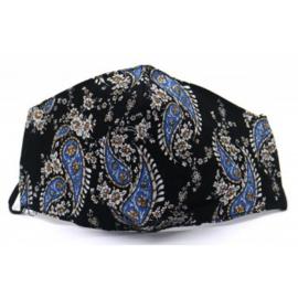 Mondkapje kashmir motief zwart met blauw