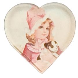 """6 stuks nostalgische magneetjes hart """"meisje met hondje"""" Clayre & Eef"""