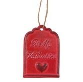 """Ijzeren label rood """"Be my Valentine"""" Clayre & Eef"""