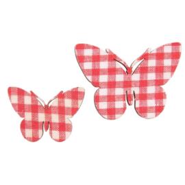 Magneetjes 12 stuks wit / rood geruite vlindertjes Clayre & Eef