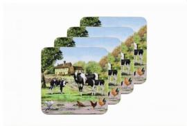Set van 4 onderzetters Farmyard Cow Leonardo